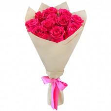 Букет Розовые розы в крафте из 11 р...